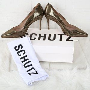 Schutz Analira Mid Heel Pumps Gold Metallic Mini D